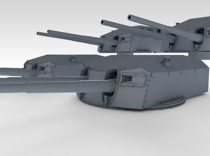 "1/128 Prinz Eugen 20.3cm/60 (8"") Guns with Barrels 3d printed 3d render showing set detail"