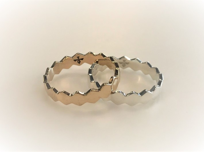 Hex Ringsaround Hexagon Geometric Ring Sizes 6-10 3d printed Polished Silver and Polished Bronze
