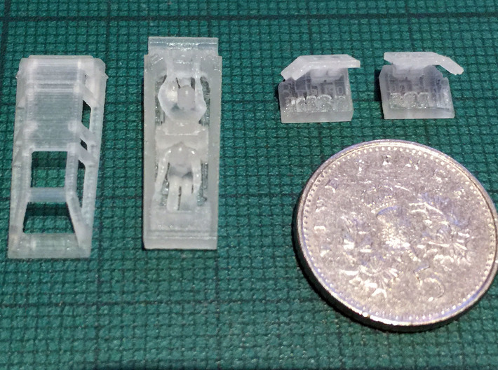 Snow speeder, Closed Canopy and Flaps, 1:144 3d printed British 5p coins are the same size as Canadian and US dimes. Frosted Extreme Detail shown.