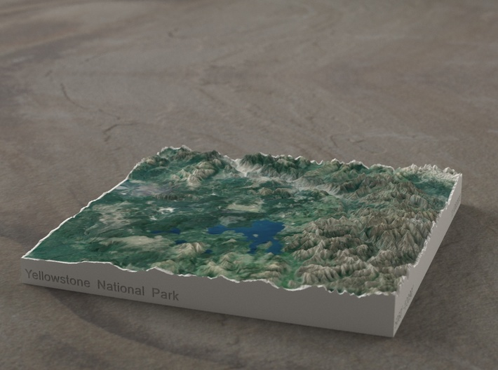 Yellowstone National Park, WY/MT/ID, 1:1000000 3d printed