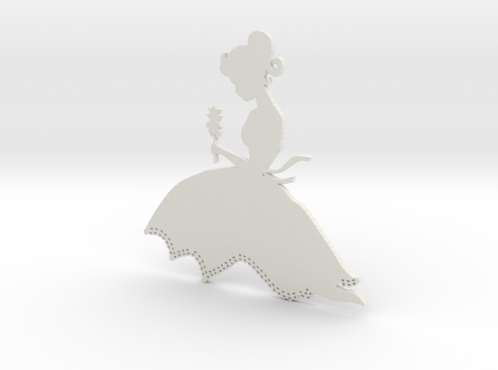 wall decor girl with flower 3d printed