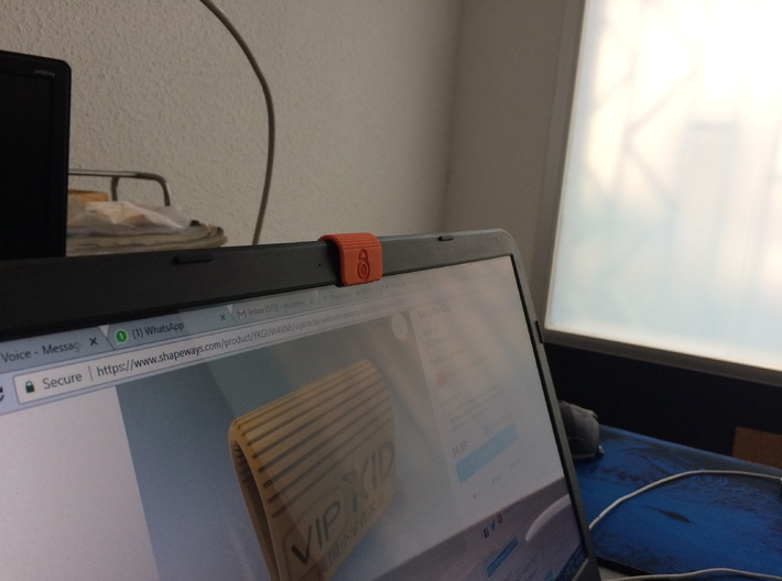 MC-Networks Logo Corporate Webcam Security Cover 3d printed Webcam Privacy Clip in Action