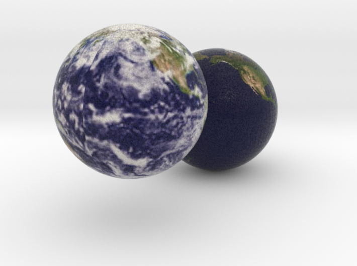 Two Earths 3d printed