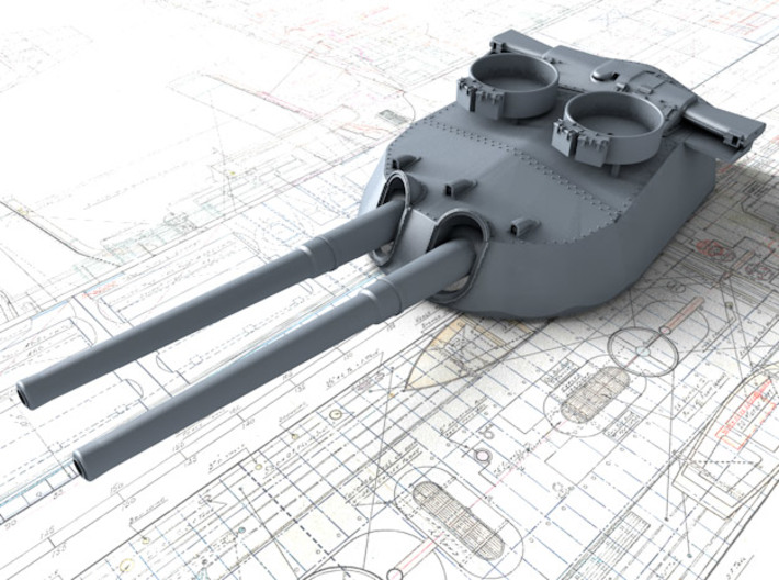 "1/700 15"" MKI* HMS Queen Elizabeth Guns 1943 x4 3d printed 3d render showing B Turret detail"