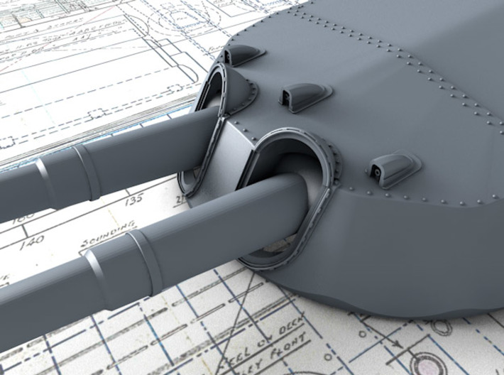 """1/350 15"""" MKI* HMS Warspite Guns 1942 x4 3d printed 3d render showing Turret face and 'Eyebrows'"""