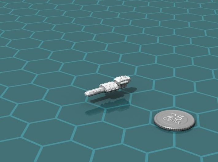 Eltanni Light Cruiser 3d printed Render of the model, with a virtual quarter for scale.