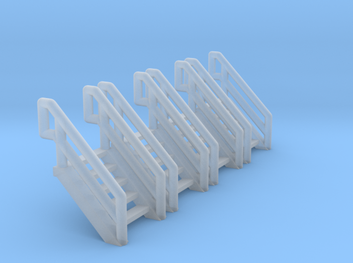 Z Scale Industrial Stairs 5 (4pc) 3d printed