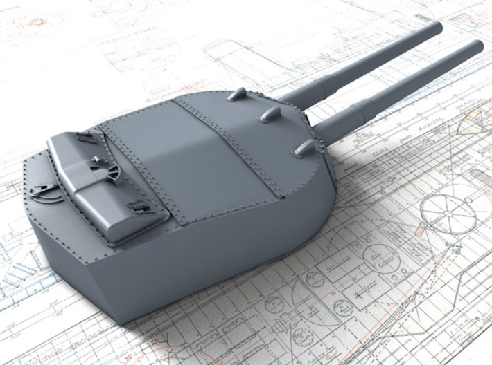 1/350 MKI* HMS Renown Guns 1924 3d printed 3d render showing A and Y Turret detail