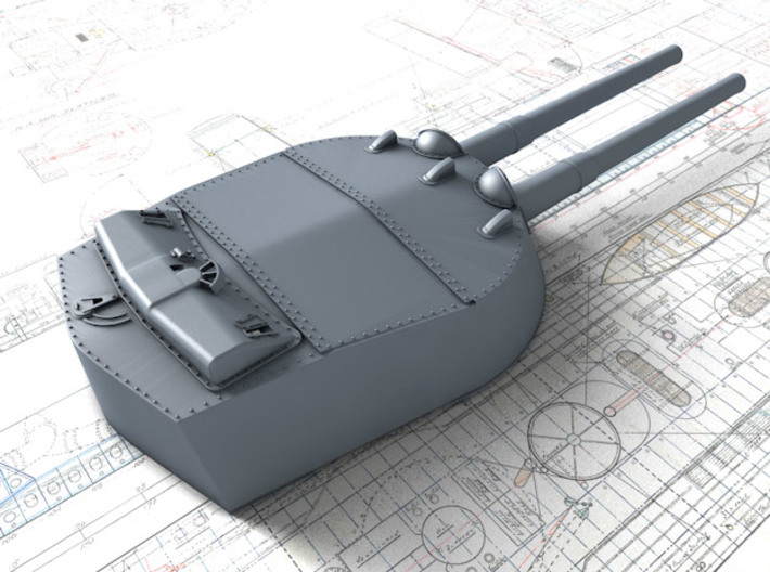1/600 MKI* HMS Renown Guns 1942 3d printed 3d render showing A and Y Turret detail