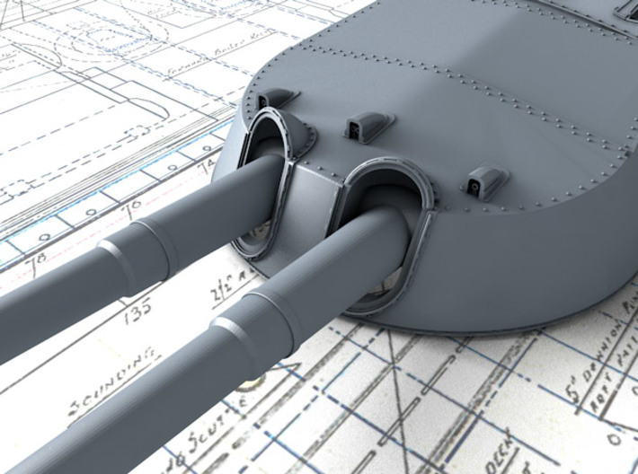 1/700 MKI* HMS Renown Guns 1942 3d printed 3d render showing A and Y Turret detail