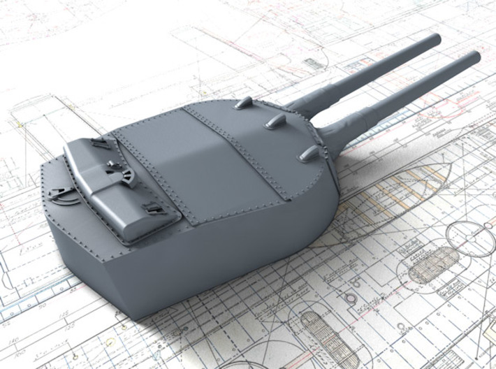 1/600 MKI* HMS Renown Guns 1924 with Blast Bags 3d printed 3d render showing A Turret detail