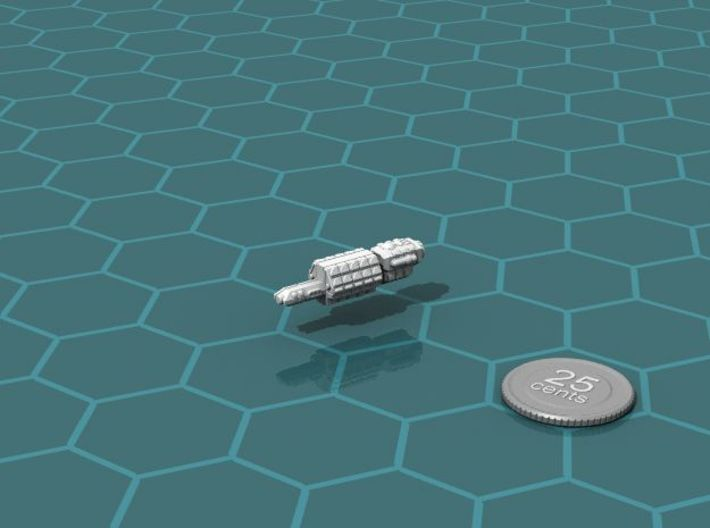 Eltanni_Arsenal_Ship 3d printed Render of the model, with a virtual quarter for scale.