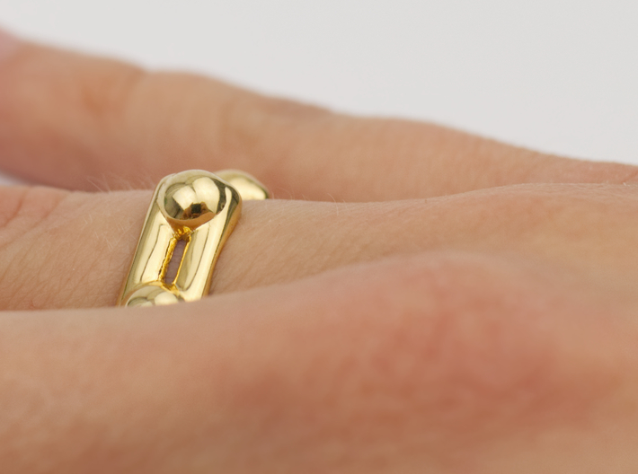 Benzene Ring Molecule Ring 3D 3d printed Benzene ring molecule ring in 18k Gold plated