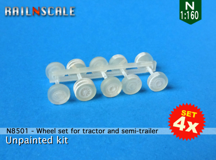SET 4x Wheel set for tractor and semi-trailer (N) 3d printed