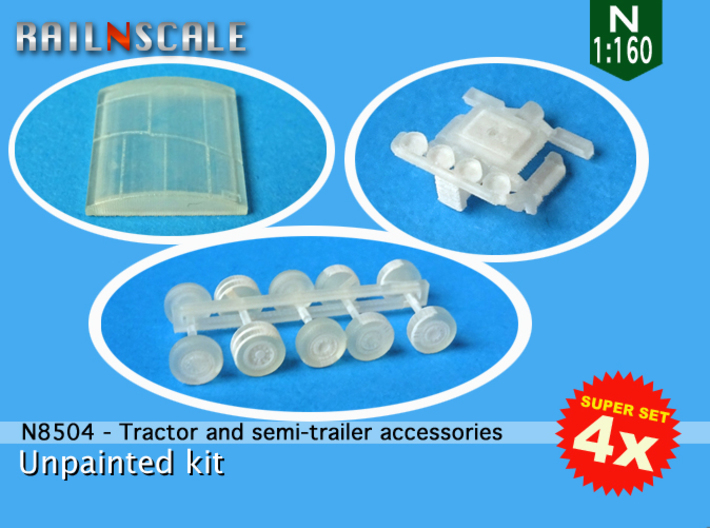 SUPER SET 4x Tractor and semi-trailer accessories  3d printed