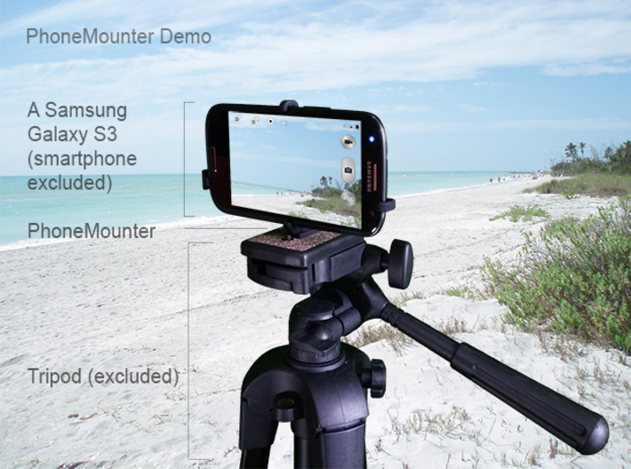 Samsung Galaxy Note FE tripod & stabilizer mount 3d printed A demo Samsung Galaxy S3 mounted on a tripod with PhoneMounter