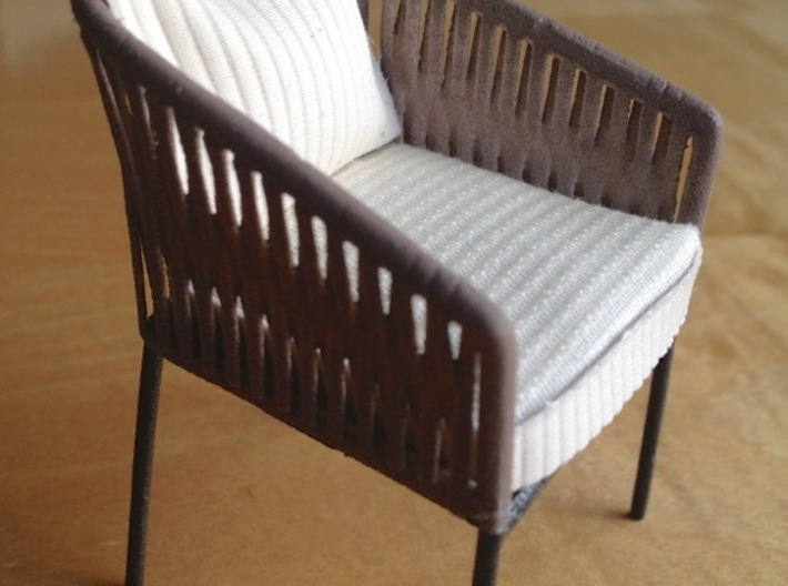 1:12 Chair Braided for patio or inside 3d printed finished home-made product, painted and with cushion