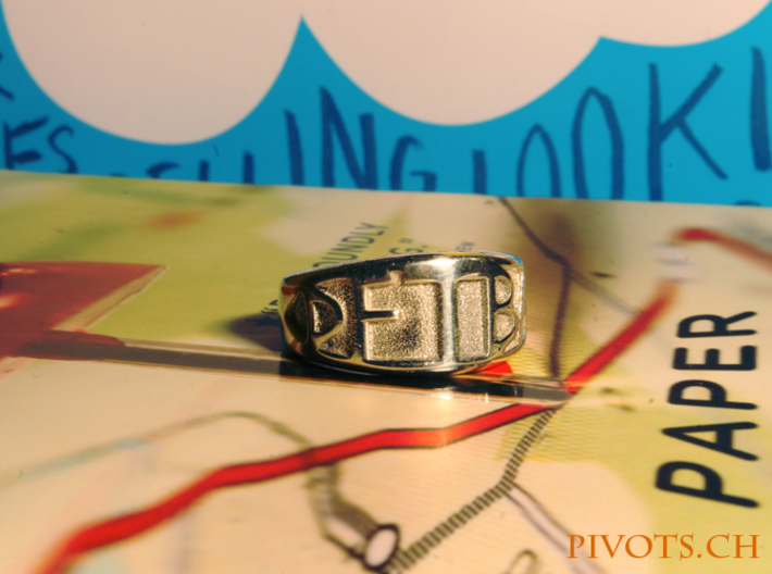 DFTBA 'Don't Forget To Be Awesome' Ring 3d printed Polished Silver