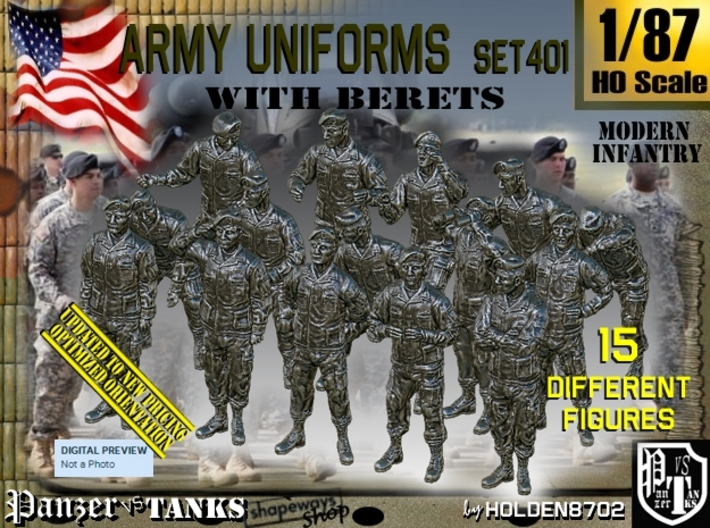 1/87 Modern Uniforms Berets Set401 3d printed