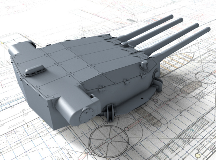 "1/350 Strasbourg 330 mm/50 (13"") Model 1931 Guns 3d printed 3d render showing Turret II detail"