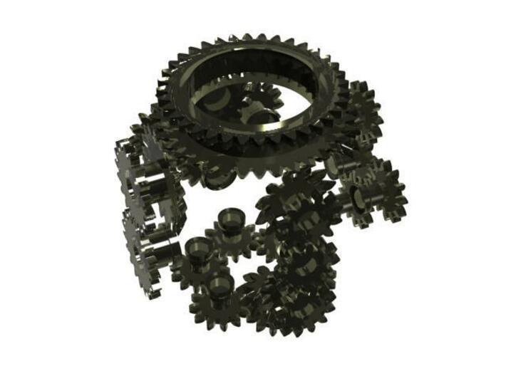 Geared D6 Prototype 3d printed CG Rendering (gears only)