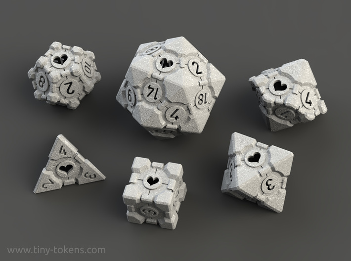 Companion Cube Polyhedral 6 Dice Set 3d printed