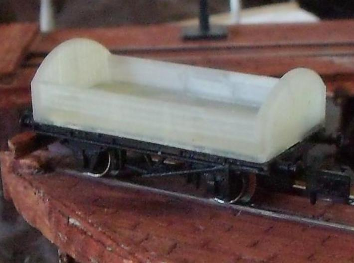 Round ended wagon 3d printed Fitted to an old Graham Farish chassis. Wooden solebar type would be better.