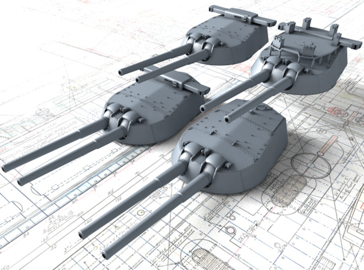 "1/600 HMS Vanguard MKI* 15"" Guns 3d printed 1/600 HMS Vanguard MKI* 15"" Guns"