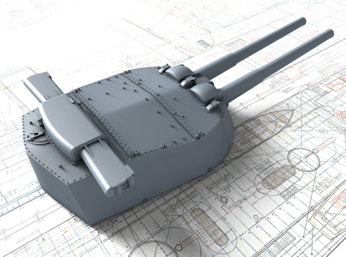 "1/600 HMS Vanguard MKI* 15"" Guns 3d printed 3d render showing X Turret detail"