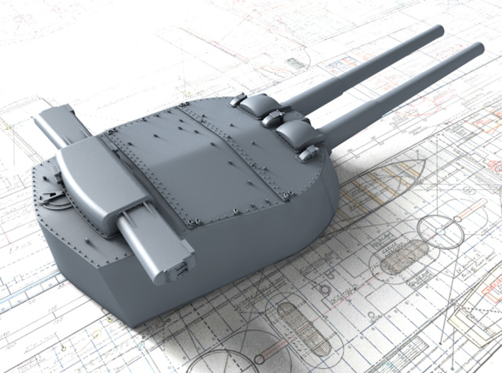 "1/600 HMS Vanguard MKI* 15"" Guns 3d printed 3d render showing Y Turret detail"