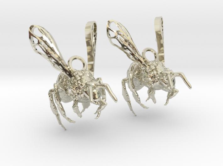 Western Honey Bee Earrings 3d printed