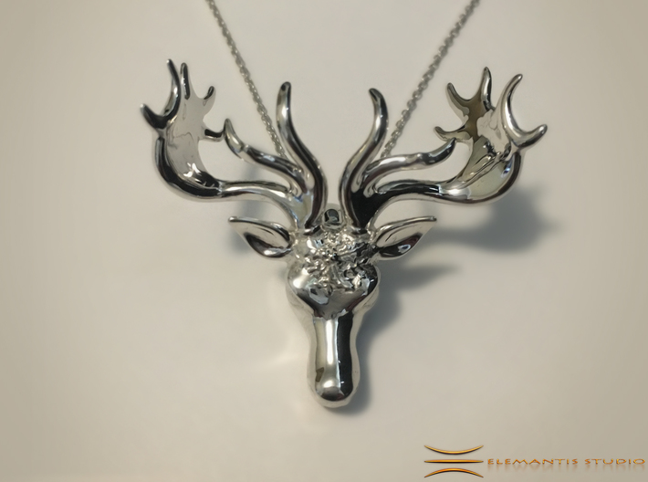 Mistletoe Reindeer Pendant/ Ornament 3d printed Small version in Rhodium Plated on White fabric (Chain not included)