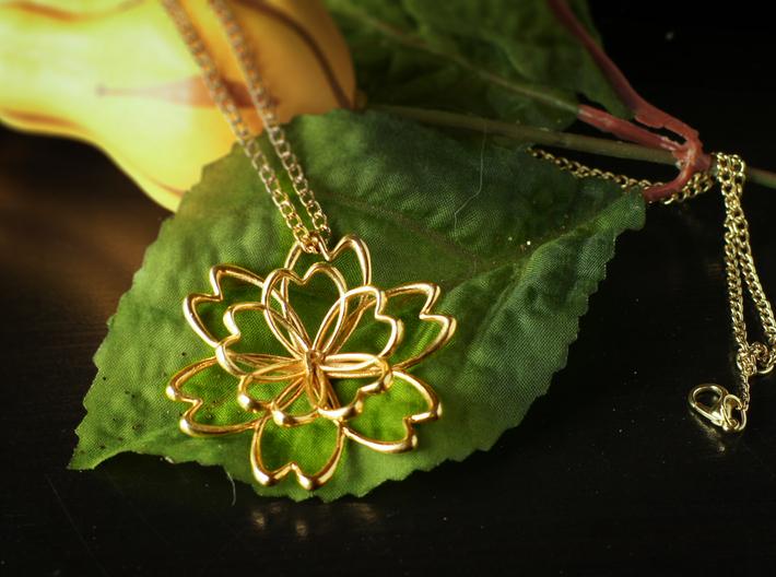 Blooming Lotus Pendant with Initial 3d printed