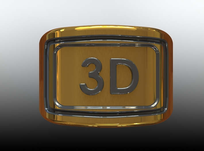 Gold Ring 3D  3d printed Top View