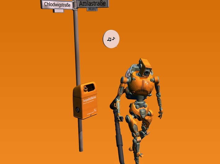 streetsign and trashcan Berlin style 1:32 scale 3d printed ONLY the streetsign with trashcan! Robot is available separately.