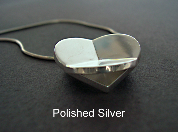 HIDDEN HEARTS PENDANT SOLID 3d printed Polished Silver