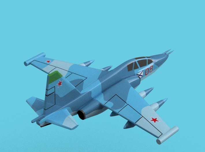 1/2000 Russian Navy aircraft set No.1 3d printed Su-25UGT.Computer software render.The actual model is not full color. Not exactly same for 1/2000 model.