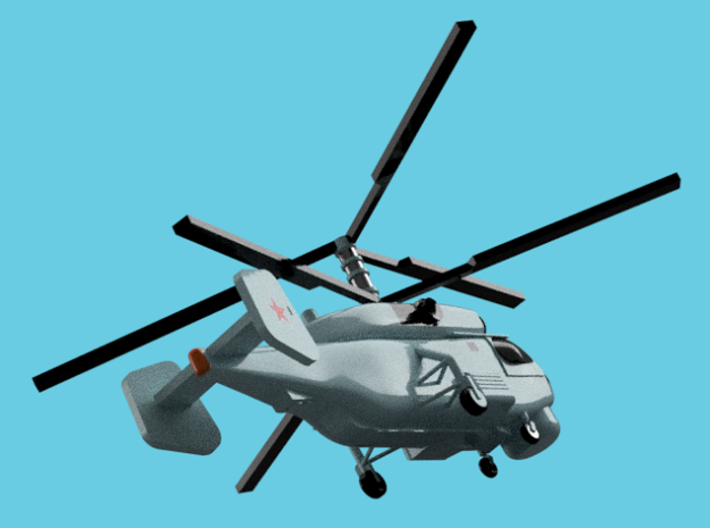 1/2000 Russian Navy aircraft set No.2 3d printed Kamov Ka-27PL.Computer software render.The actual model is not full color. Not exactly same for 1/2000 model.