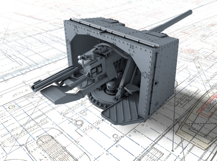 "1/144 4.7""/45 QF MK IX CPXVII Guns Ports Closed x4 3d printed 3d render showing product detail"