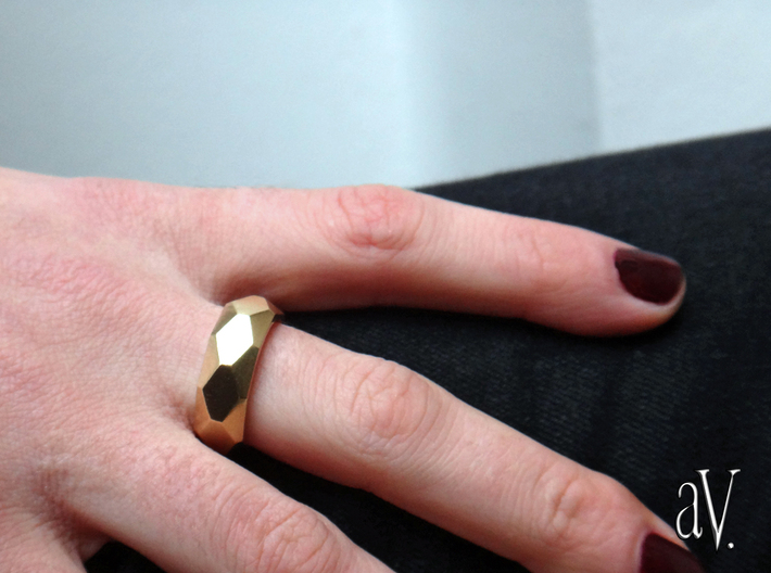 Diamond Faceted Ring 3d printed
