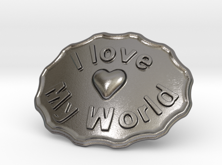 I Love My World Belt Buckle 3d printed