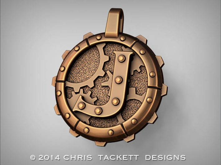 """Steampunk Monogram Pendant """"J"""" 3d printed ZBrush Rendering approximating a bronze finish. Actual Bronze finish may look a bit different."""