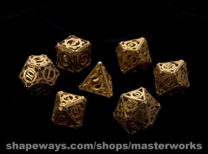 Steampunk Dice Set 3d printed Gold Plated Glossy