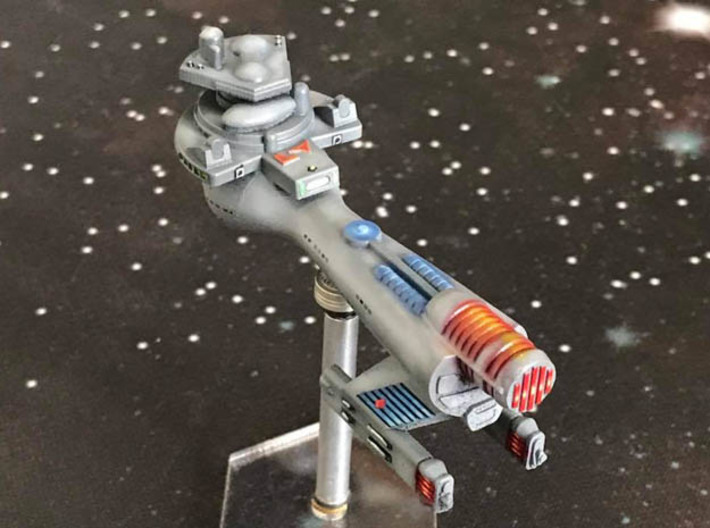 3125 Scale Klingon B10B Boom WEM 3d printed Ship is in Frosted Ultra Detail material and painted by a fan. Stand not included.
