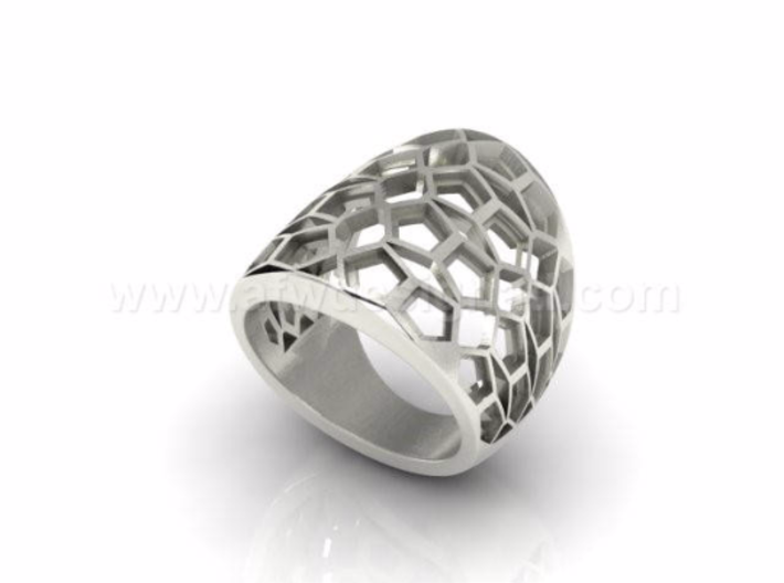 Domed Geometric Lattice Pattern Ring 3d printed White Gold