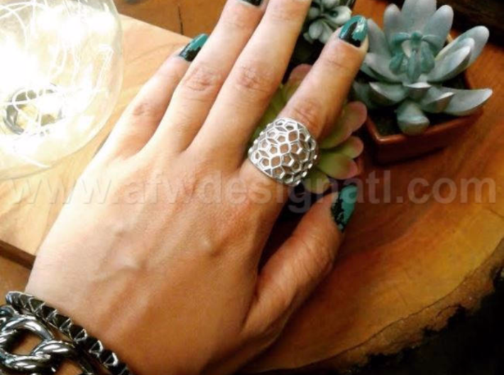 Domed Geometric Lattice Pattern Ring 3d printed Beautiful in Silver