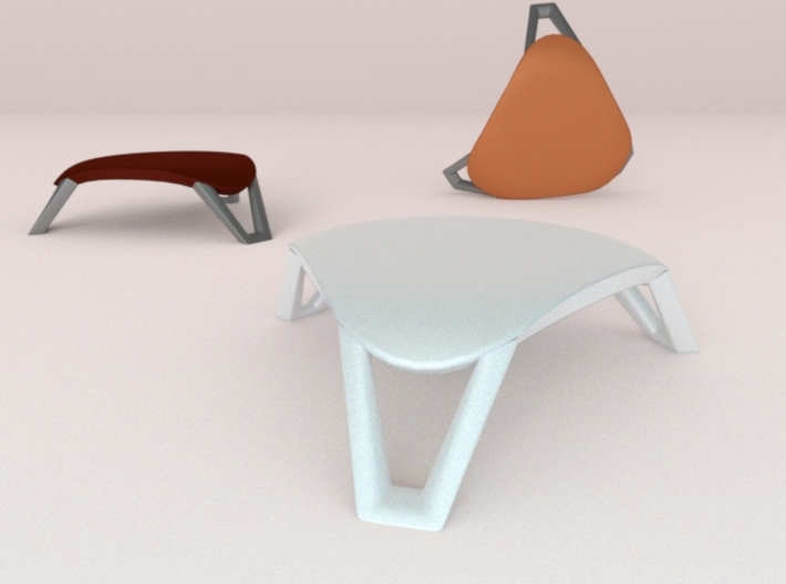 scale modelled coffee table 1 (1:22.5) 3d printed Back two colored models are paint ideas.