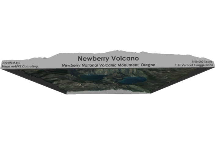 "Newberry Volcano Map, Oregon: 8""x10"" 3d printed"