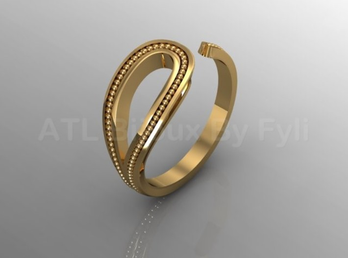 Beaded Loop Ring with Open Shank 3d printed Gold