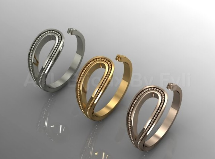 Beaded Loop Ring with Open Shank 3d printed Multiple Options